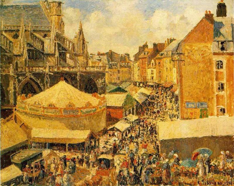 The Fair in Dieppe, Sunny Morning, (1901),. Camille Pissarro