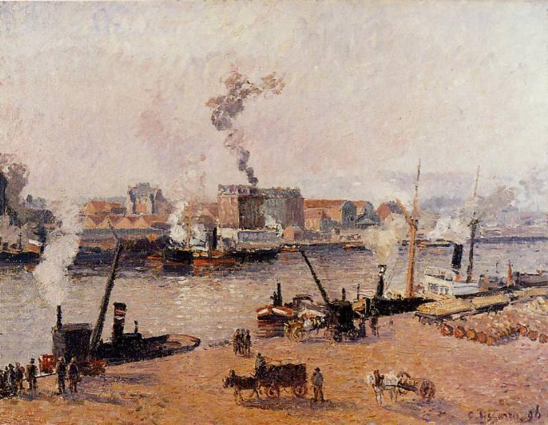 Foggy Morning, Rouen. (1896). Camille Pissarro