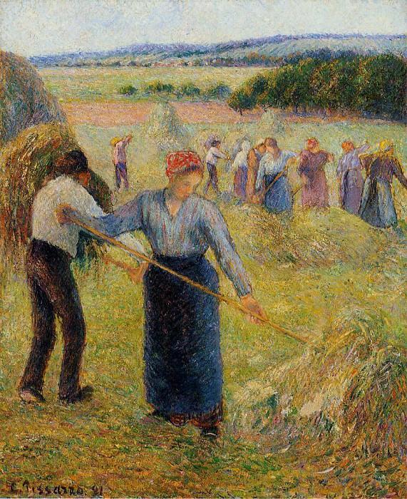 Haymaking at Eragny. (1891). Camille Pissarro
