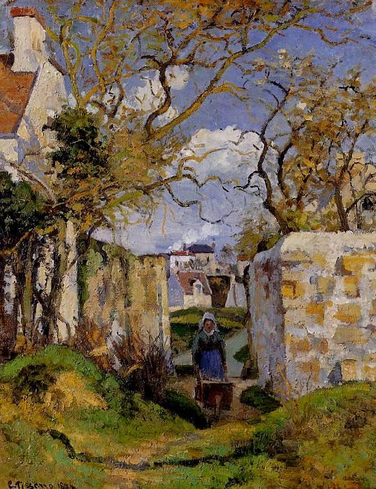Peasant Pushing a Wheelbarrow, Maison Rondest, Pontoise. (1874). Camille Pissarro