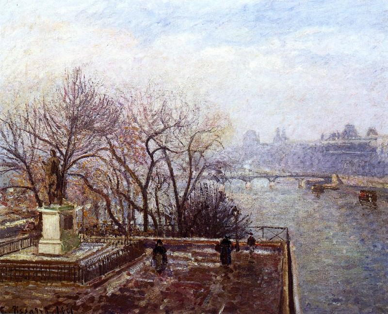 The Louvre, Morning, Mist. (1901). Camille Pissarro