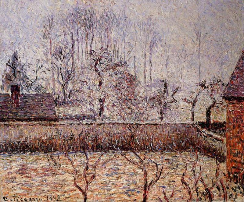 Пейзаж, мороз и туман, Эраньи (1892). Камиль Писсарро