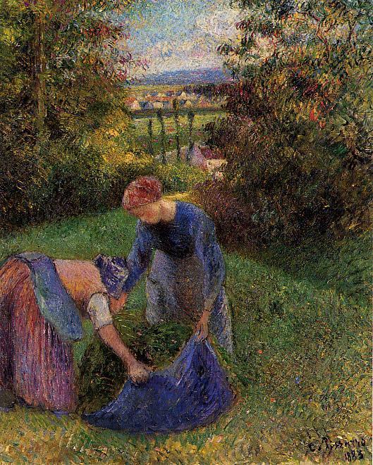 Женщины, набирающие траву (1883). Камиль Писсарро