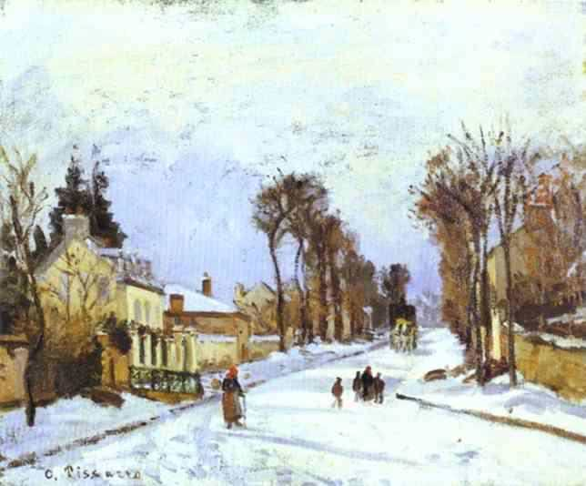 The Road to Versailles at Louveciennes . (1869). Camille Pissarro