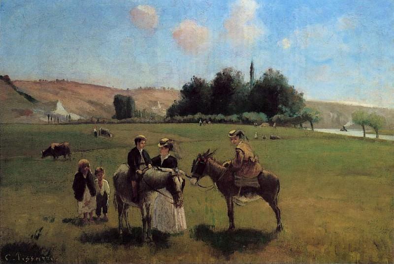 The Donkey Ride at Le Roche Guyon. (1864-65). Camille Pissarro