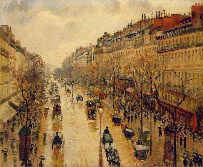 Бульвар Монмартр, дождливая погода, после полудня. Камиль Писсарро