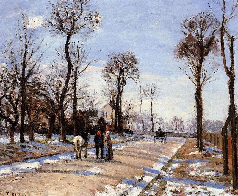 Street - Winter Sunlight and Snow. (1872). Camille Pissarro