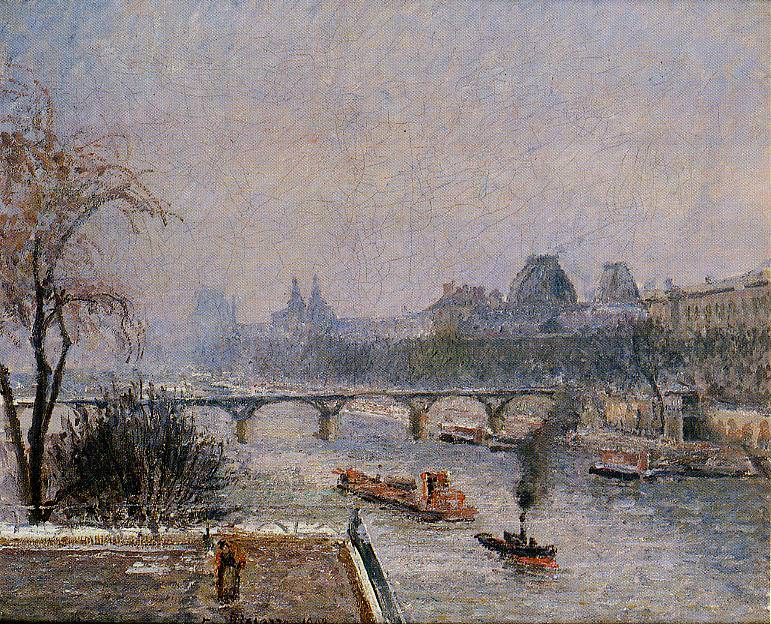The Louvre - Morning, Snow Effect. (1903). Camille Pissarro
