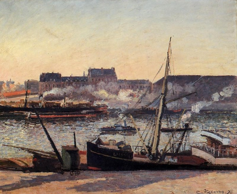 The Docks, Rouen - Afternoon. (1898). Camille Pissarro