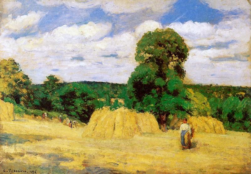 Harvest in Montfoucault. Camille Pissarro