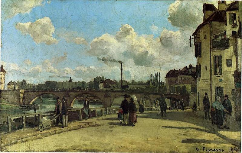 View of Pontoise, Quai du Pothuis. (1868). Camille Pissarro