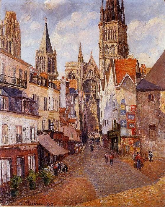 Sunlight, Afternoon, La Rue de lEpicerie, Rouen. (1898). Camille Pissarro
