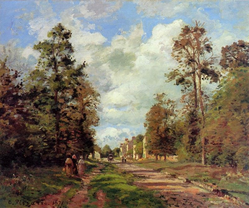 he Road to Louveciennes at the Outskirts of the Forest. (1871). Camille Pissarro