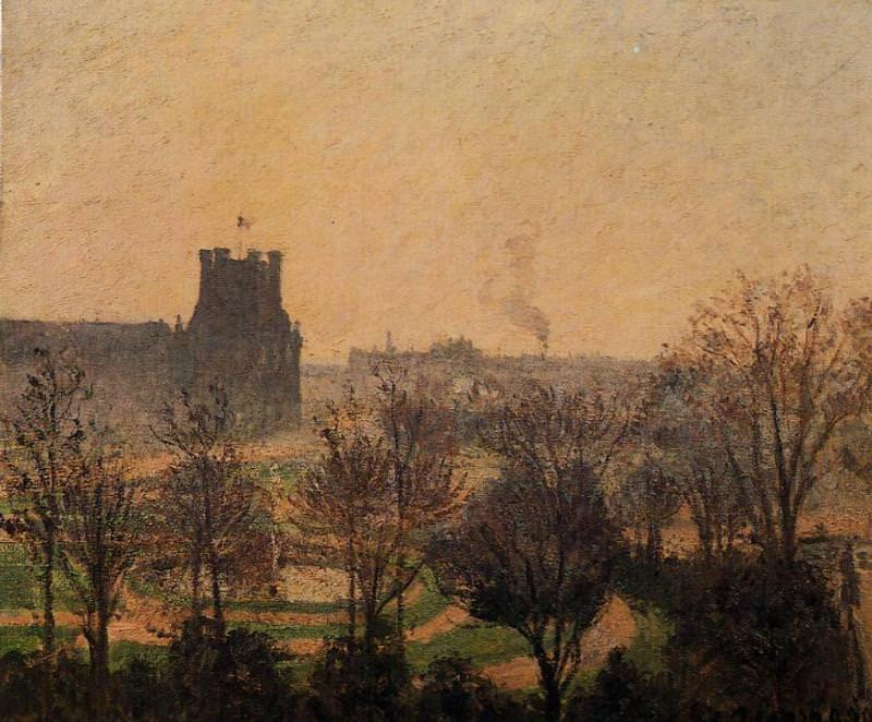 Garden of the Louvre - Fog Effect. (1899). Camille Pissarro