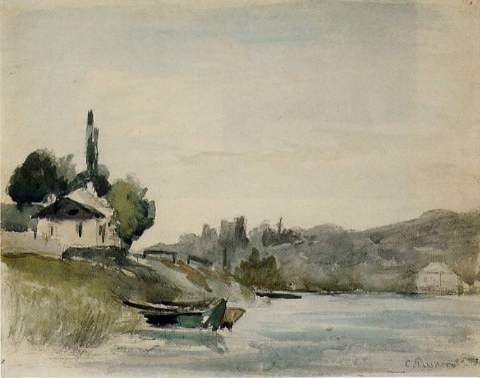 The Banks of the Marne at Cennevieres. (1864-65). Camille Pissarro