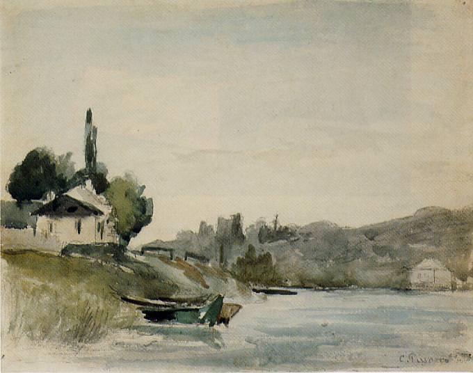 Берега Марны в Жанневьере (1864-65). Камиль Писсарро