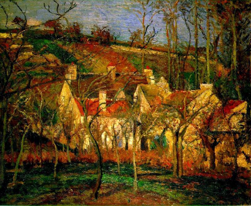 Red Roofs, Corner of a Village, Winter. (1877). Camille Pissarro