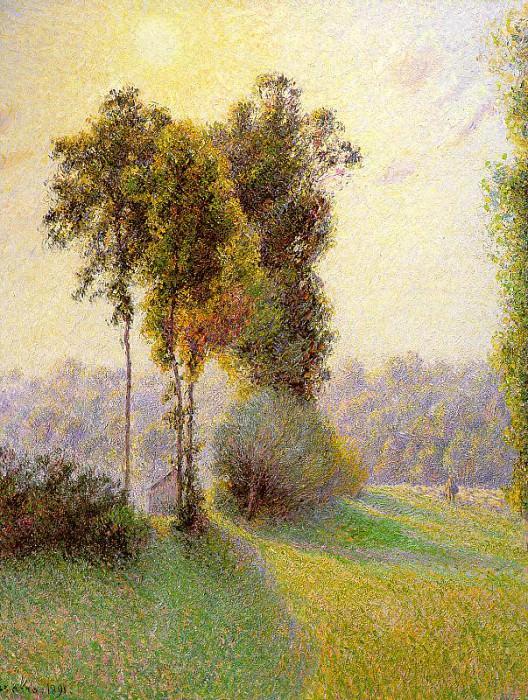 Pissarro Sunset at St. Charles Eragny 1891. Camille Pissarro