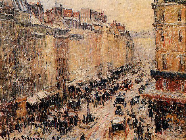 Rue Saint-Lazar under Snow. (1897). Camille Pissarro