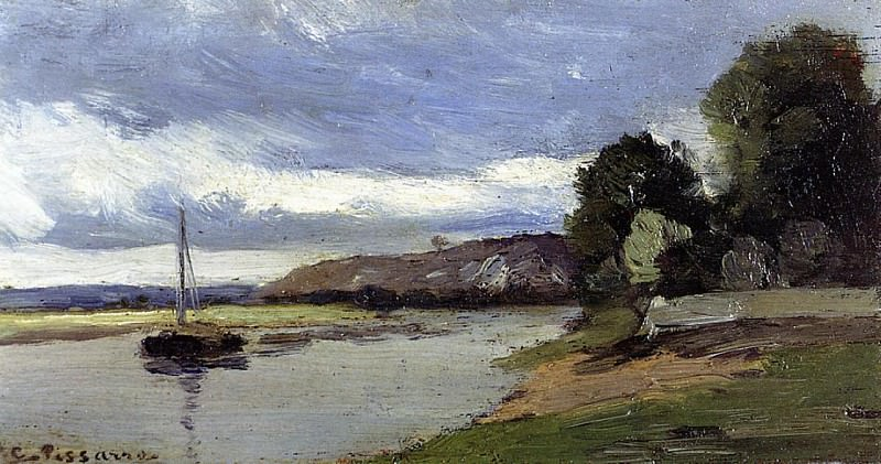 Banks of a River with Barge. (1864). Camille Pissarro