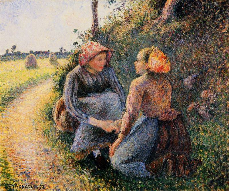 Seated and Kneeling Peasants. (1893). Camille Pissarro
