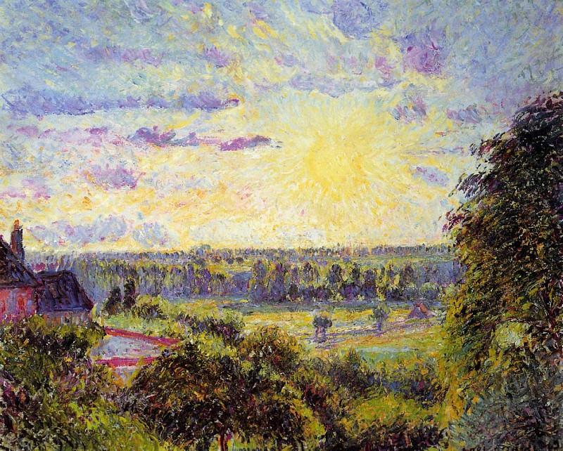 Sunset at Eragny. (1891). Camille Pissarro