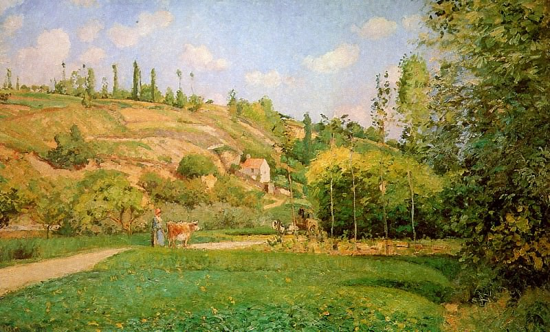 Wow shepherd on the road. Camille Pissarro
