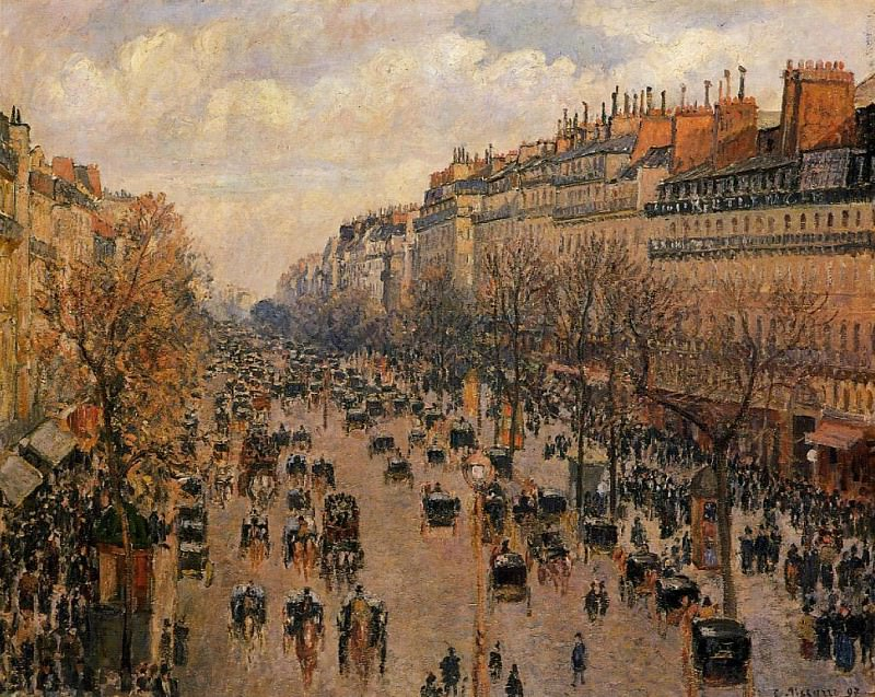 Boulevard Montmartre - Afternoon, Sunlight. (1897). Camille Pissarro
