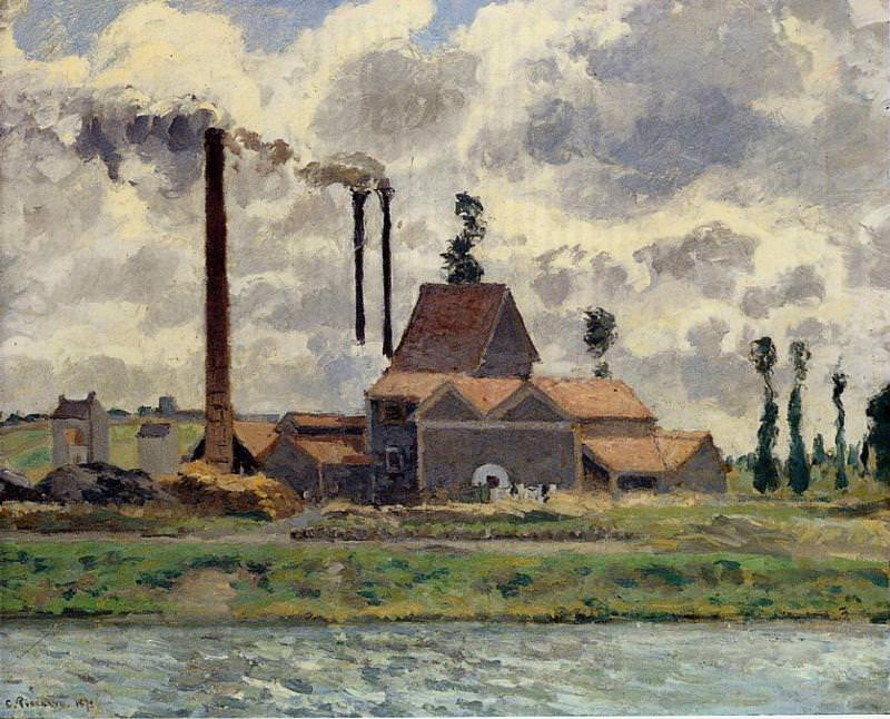 The Factory. (1873). Camille Pissarro