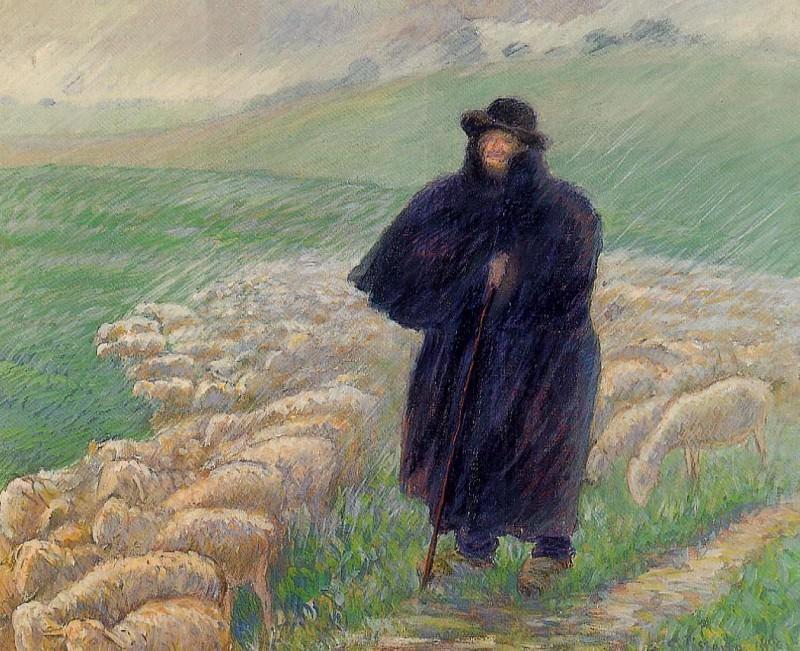 Shepherd in a Downpour. (1889). Camille Pissarro