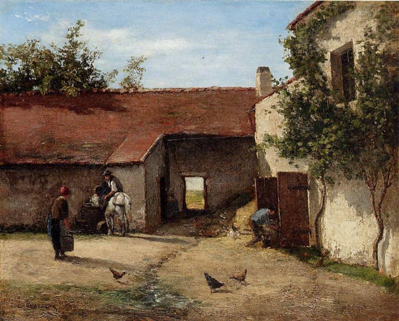 Farmyard. (1863). Camille Pissarro