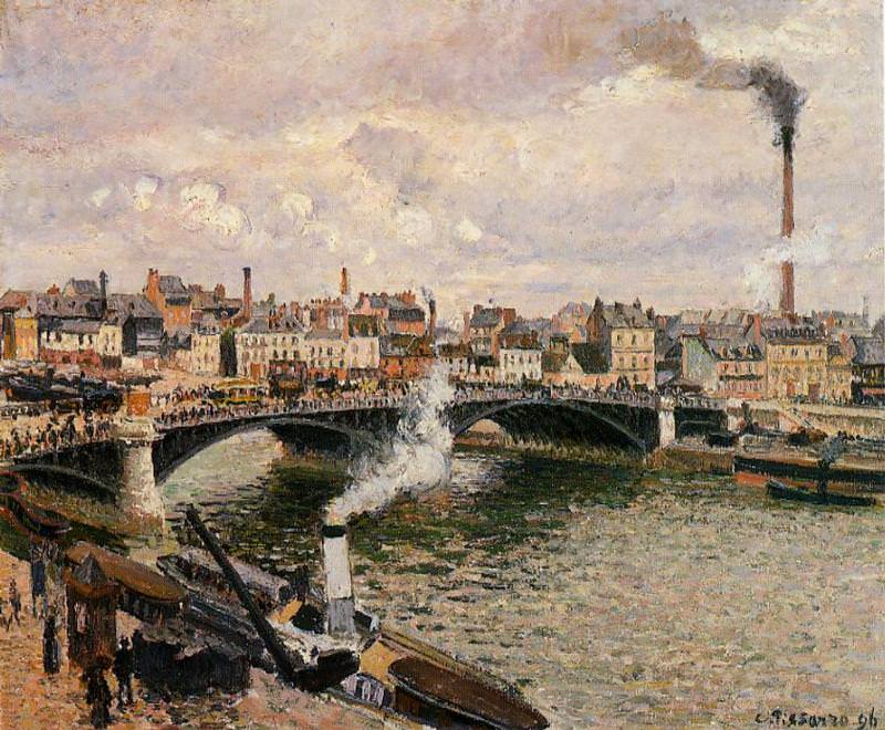 Morning, Overcast Day, Rouen. (1896). Camille Pissarro