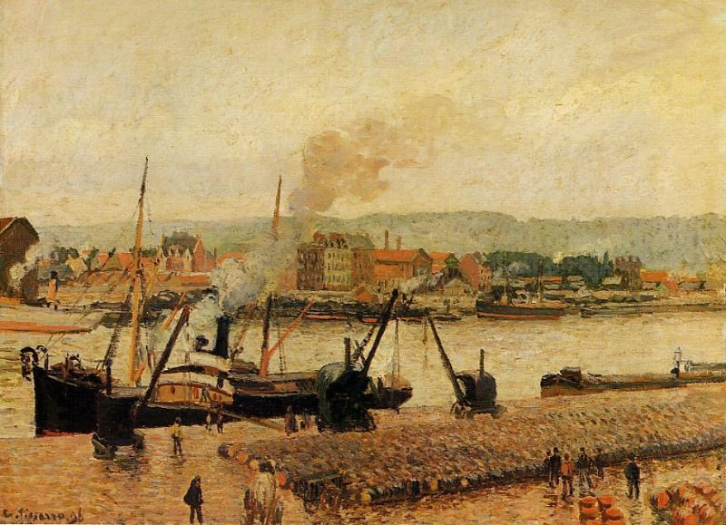 Morning, after the Rain, Rouen. (1896). Camille Pissarro