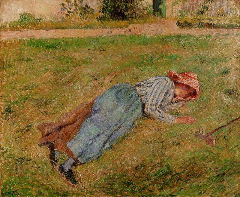 Resting, Peasant Girl Lying on the Grass, Pontoise. (1882). Camille Pissarro