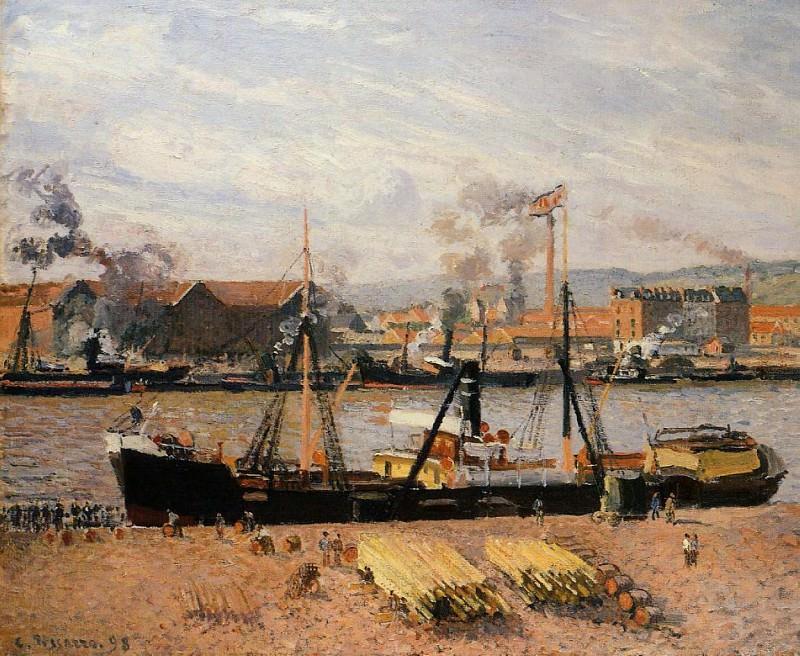 The Port of Rouen - Unloading Wood. (1898). Camille Pissarro