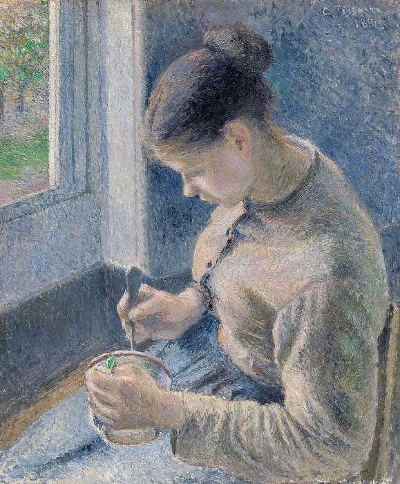 Pissarro Peasant girl drinking her coffee, 1891, 65.3x54.8 c. Camille Pissarro