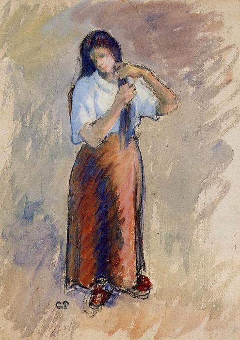 Молодая женщина, завязывающая волосы в узел. Камиль Писсарро