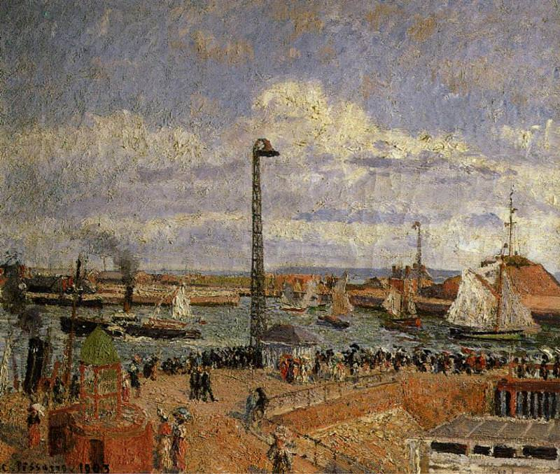 The Pilots Jetty, Le Havre - High Tide, Afternoon Sun. (1903). Camille Pissarro