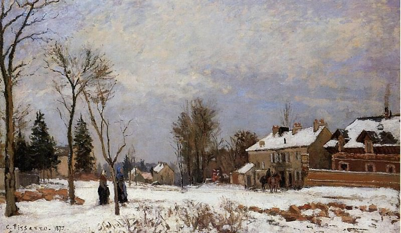 The Road from Versailles to Saint-Germain, Louveciennes. Snow Effect. (1872). Camille Pissarro