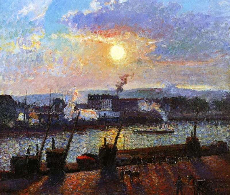 Sunset, Rouen. (1898). Camille Pissarro