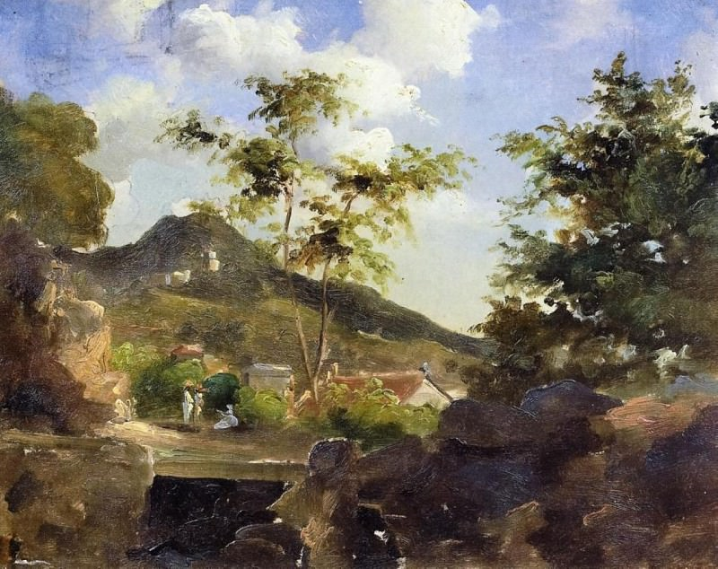 Village at the Foot of a Hill in Saint Thomas, Antilles. (1854-55). Camille Pissarro