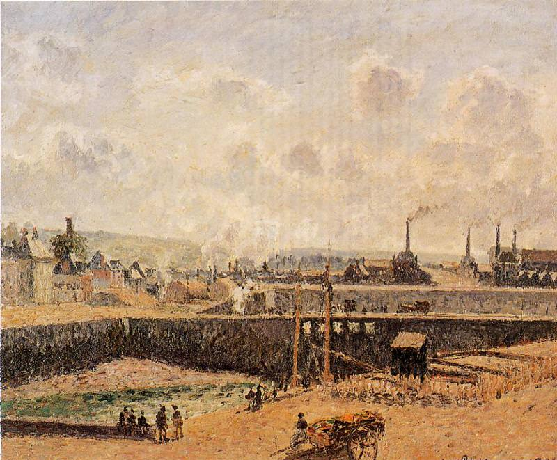 Dieppe, Dunquesne Basin, Low Tide, Sun, Morning. (1902). Camille Pissarro