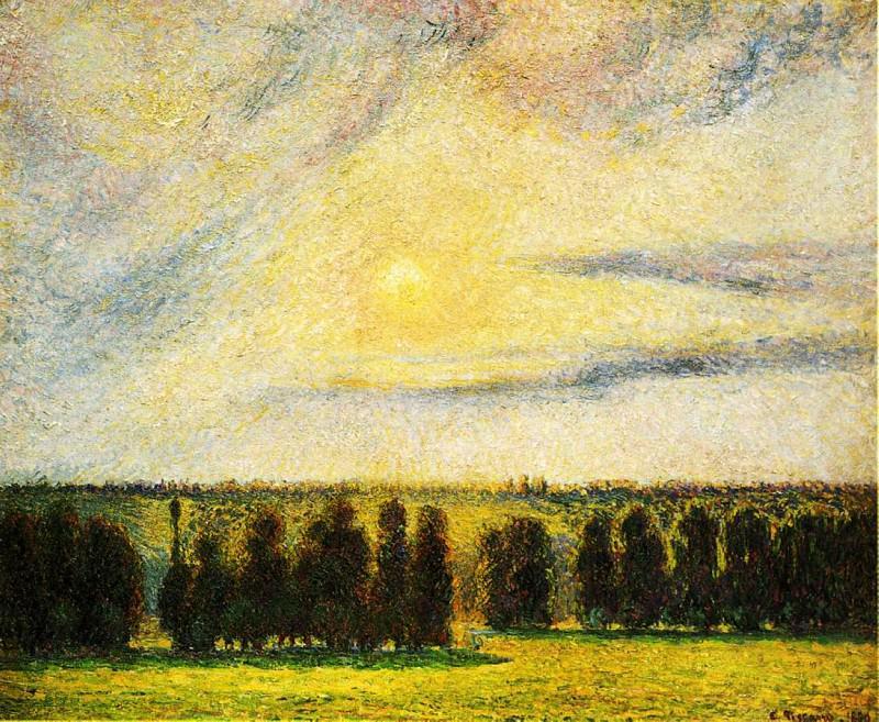 Sunset at Eragny. (1890). Camille Pissarro