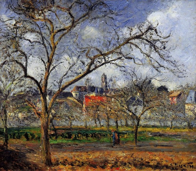 On Orchard in Pontoise in Winter. (1887). Camille Pissarro