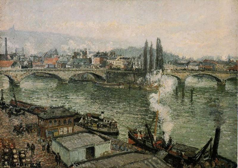 Мост Корнейе, Руан - Пасмурная погода (1896). Камиль Писсарро