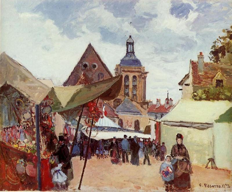 September Celebration, Pontoise. (1872). Camille Pissarro