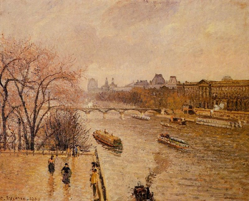 The Louvre - Afternoon, Rainy Weather. (1902). Camille Pissarro