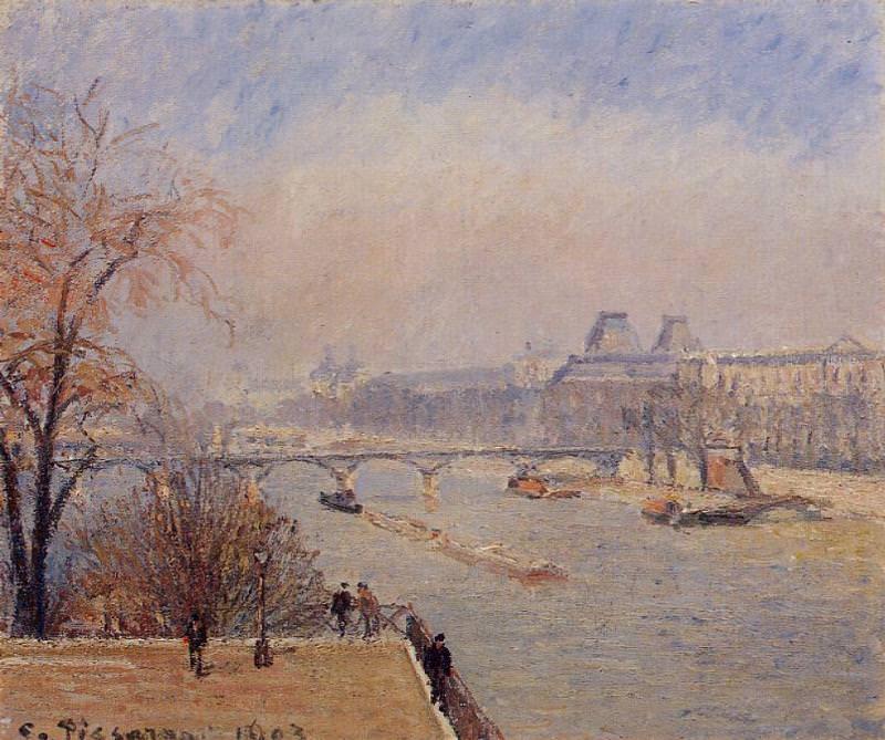 The Louvre - March Mist. (1903). Camille Pissarro