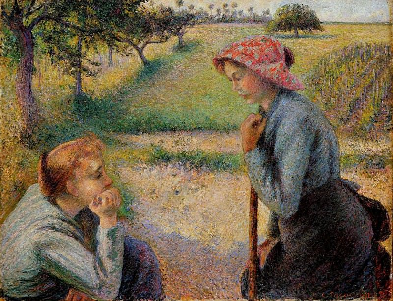 Two Peasant Woman Chatting. (1892). Camille Pissarro