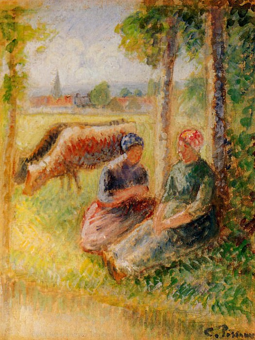 Two Cowherds by the River. (1888-95). Camille Pissarro